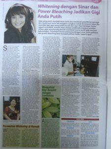 """Wawancara drg Yeanne Rosseno oleh Tabloid Info Kecantikan Edisi Khusus """"Trend Terbaru Perawatan Kecantikan Tahun 2010"""""""